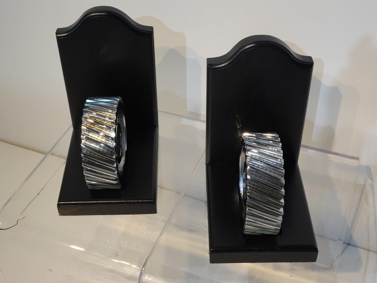 Steel Chromed Industrial Gear / Wood Bookends For Sale