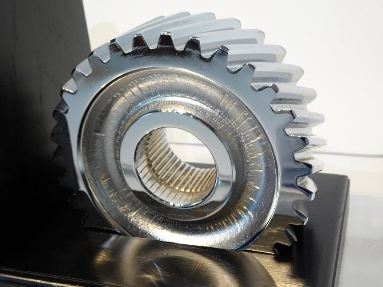 Chromed Industrial Gear / Wood Bookends For Sale 1