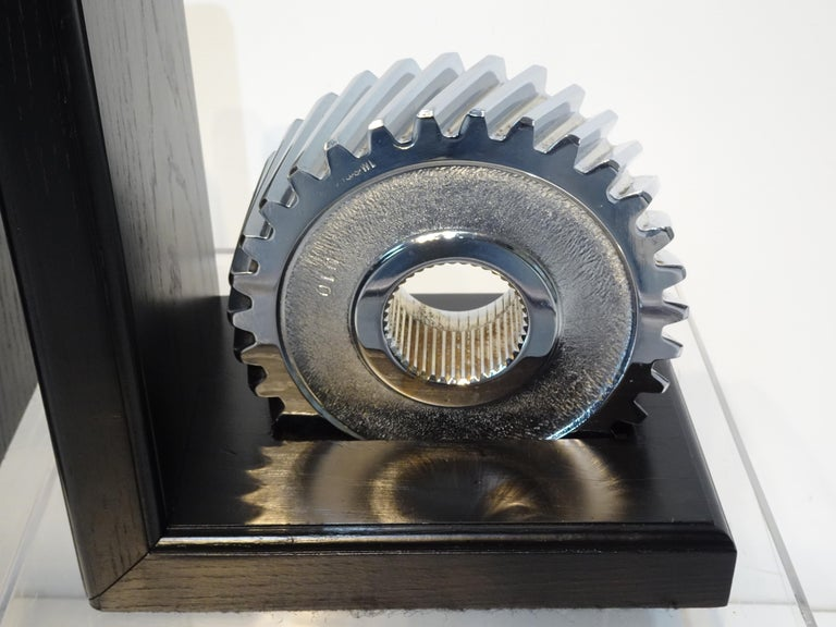 Chromed Industrial Gear / Wood Bookends For Sale 2