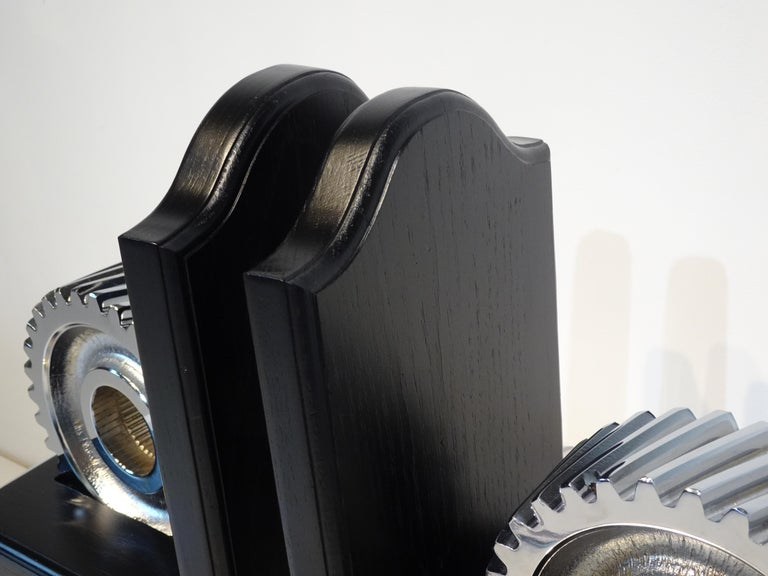 Chromed Industrial Gear / Wood Bookends For Sale 3