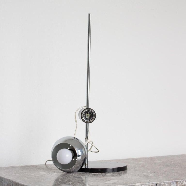 Italian Chromed Magnetic Head Reggiani Table Lamp For Sale