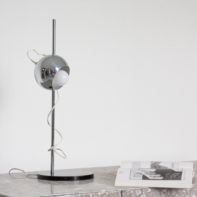 Mid-20th Century Chromed Magnetic Head Reggiani Table Lamp For Sale