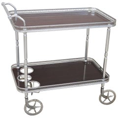 Chromed Metal and Rosewood Drinks Trolley or Bar Cart, Italy, 1930s