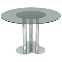 Chromed Metal and Smoked Glass Trifoglio Table by Sergio Asti for Poltronova