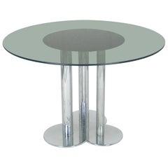 Chromed Metal and Smoked Glass Trifoglio Table by Sergio Asti for Poltronova