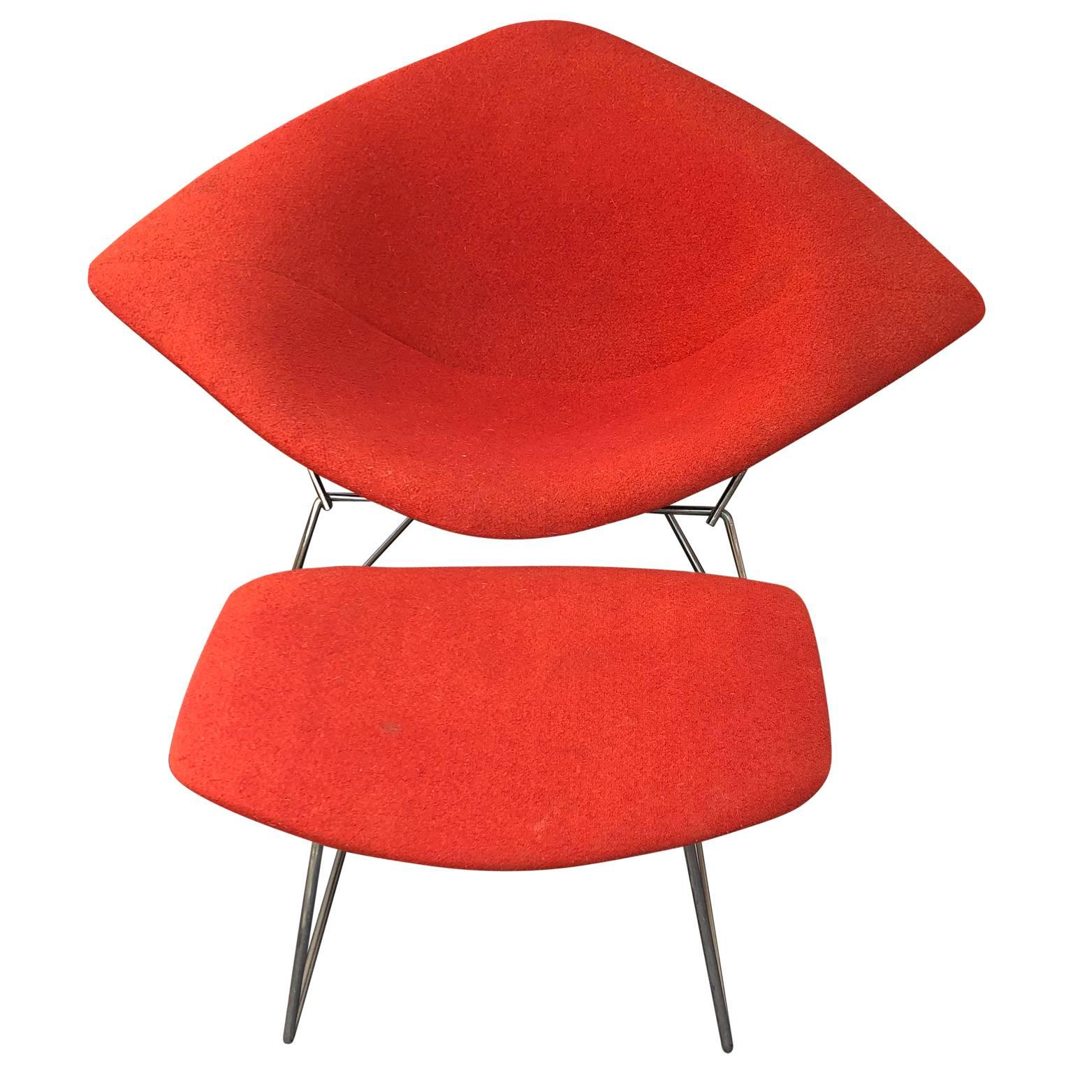 Chromed Midcentury Harry Bertoia Diamond Chair And Ottoman For Knoll For  Sale