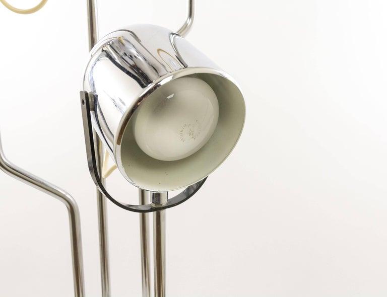 Iron Chromed Reggiani Floor Lamp with Four Spotlights, circa 1970 For Sale