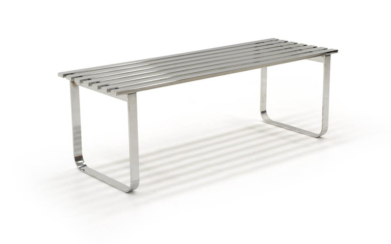 Mid-Century Modern Chromed Steel Bench by Milo Baughman For Sale