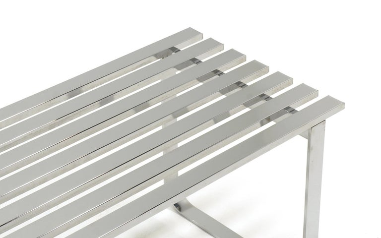 Chromed Steel Bench by Milo Baughman In Good Condition For Sale In Kansas City, MO