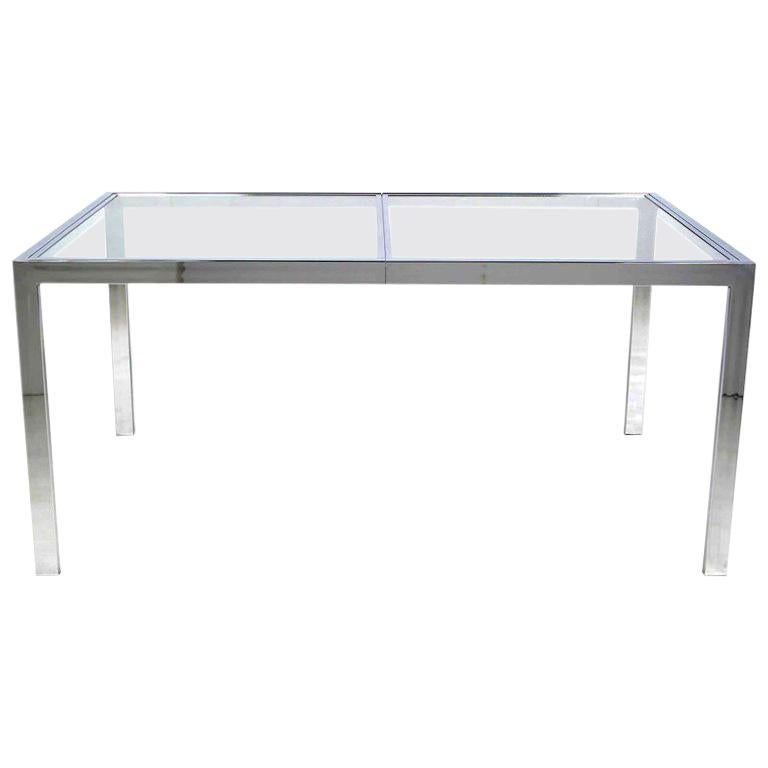Chromed Steel Parsons Style Dining Table In The Style of Milo Baughman