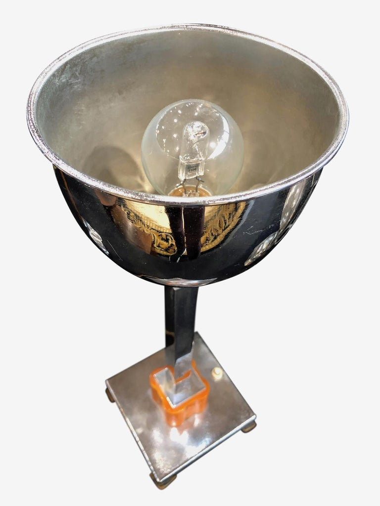 20th Century Chromed Table Lamp with Orange Bakelite, Art Deco, France, 1930s For Sale