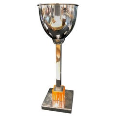 Chromed Table Lamp with Orange Bakelite, Art Deco, France, 1930s