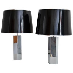 Chromed Table Lamps in Hollywood Regency Style by Ingo Maurer, 1970s, Set of two