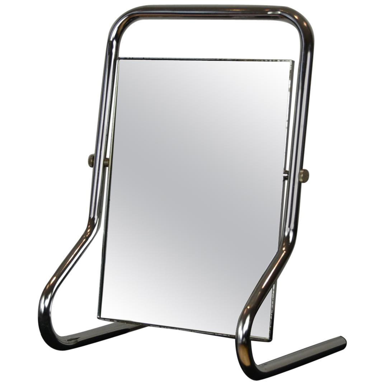 Chromed Table Mirror , Vanity Mirror Bauhaus Style, 1970s