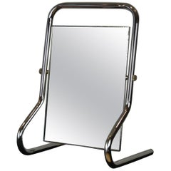 Chromed Table Mirror or Vanity Mirror Bauhaus Style, 1970s