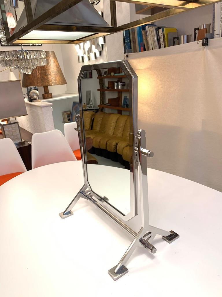 Late 20th Century Chromed Vanity Mirror, 1970s For Sale