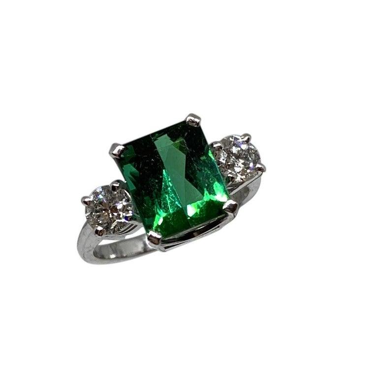 Emerald Cut Chromium Green Tourmaline 18ct white gold White Diamond 3-Stone Engagement Ring For Sale