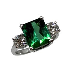 Chromium Green Tourmaline Platinum White Diamond Three-Stone Engagement Ring