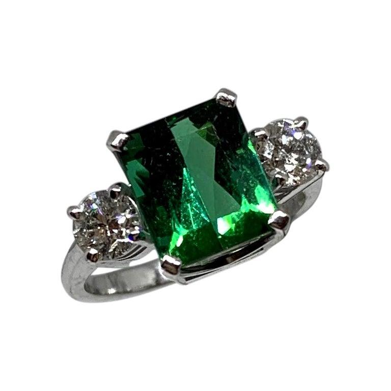 Chromium Green Tourmaline 18ct white gold White Diamond 3-Stone Engagement Ring For Sale