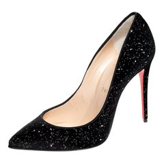 Chrstian Louboutin Glitter Velvet Pigalle Follies Pointed Toe Pumps Size 38