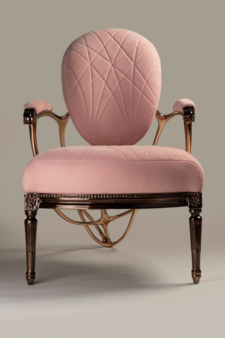 French Chrysalide Chair, Collectors Item, Solid bronze, Alcantara, Limited Edition For Sale