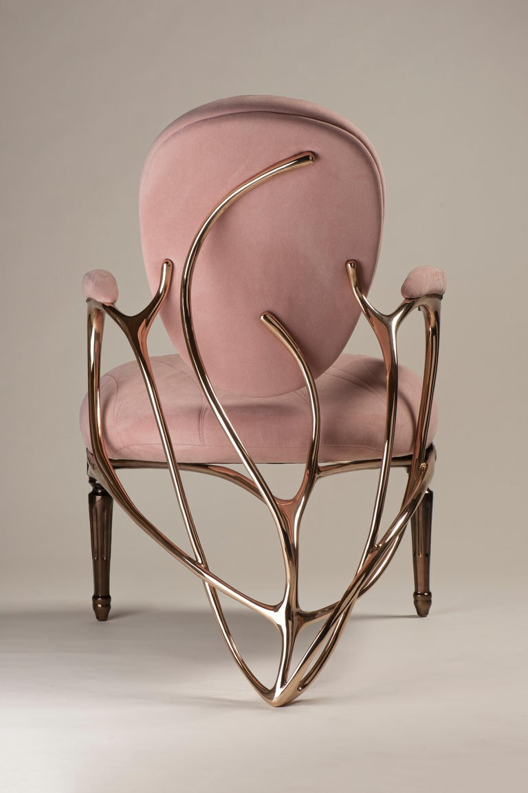 Cast Chrysalide Chair, Collectors Item, Solid bronze, Alcantara, Limited Edition For Sale