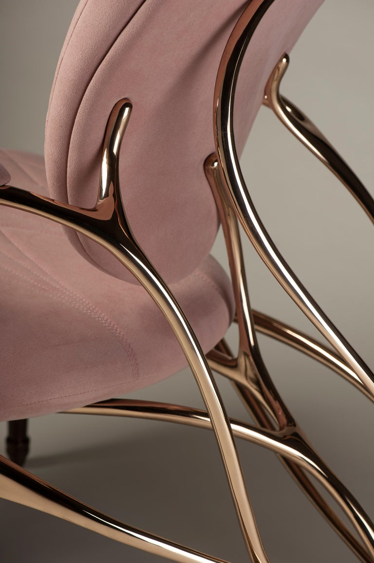 Chrysalide Chair, Collectors Item, Solid bronze, Alcantara, Limited Edition For Sale 1