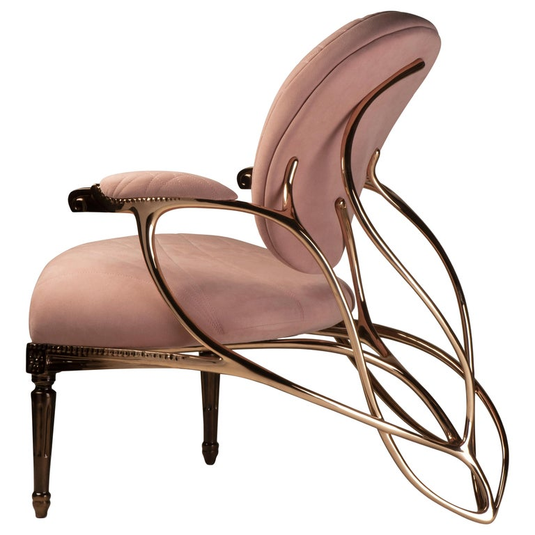 Chrysalide Chair, Collectors Item, Solid bronze, Alcantara, Limited Edition For Sale