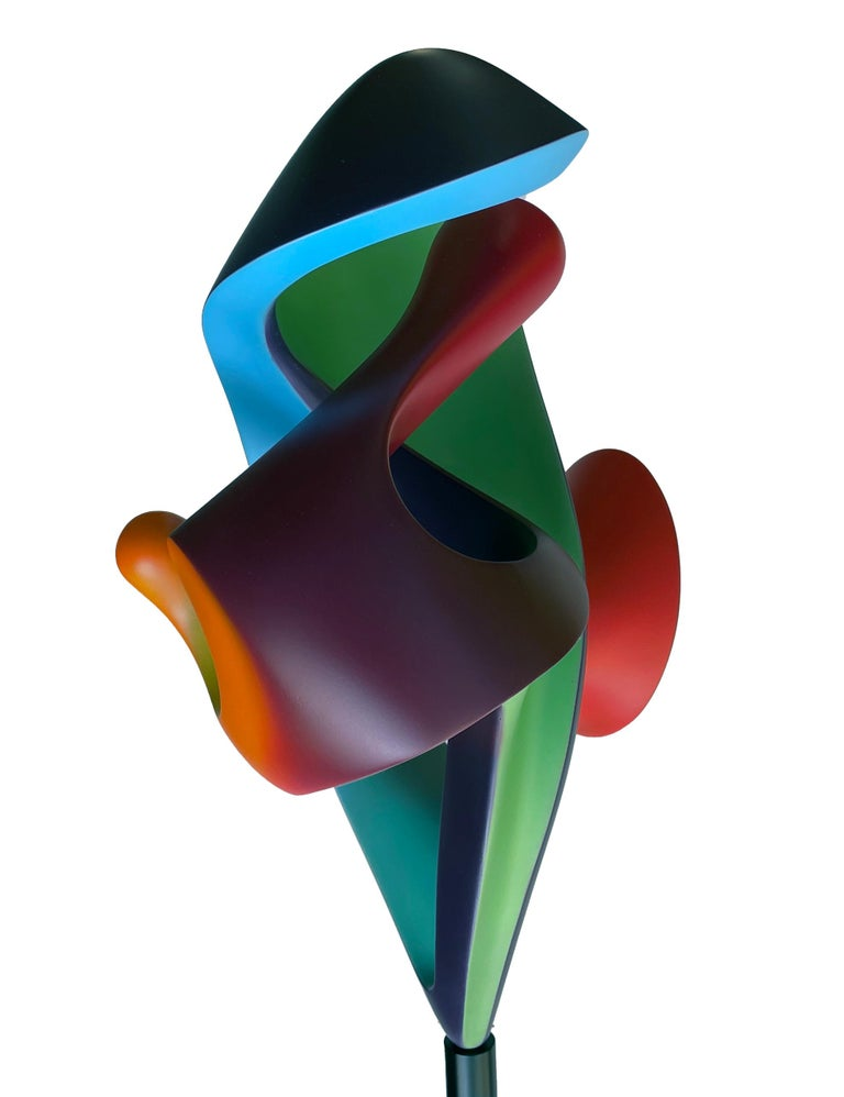 Modern Chrysalis, Abstract Sculpture, Brightly Colored Intertwined Geometric Form For Sale