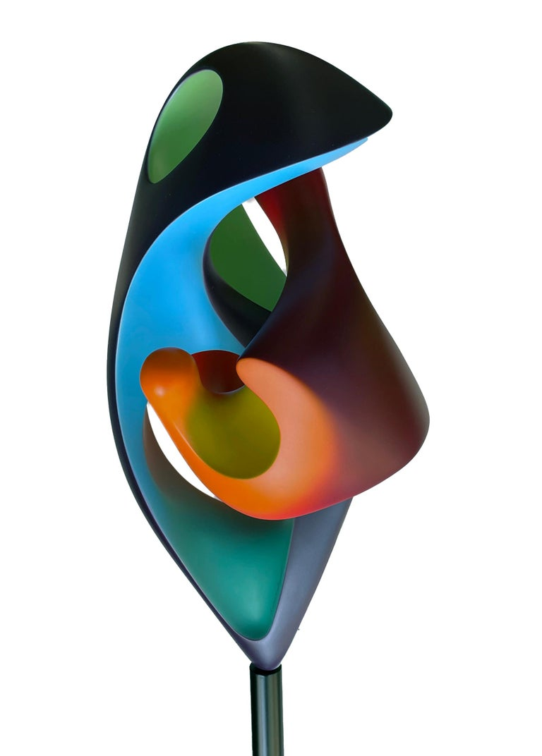 American Chrysalis, Abstract Sculpture, Brightly Colored Intertwined Geometric Form For Sale