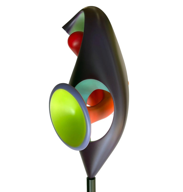 Contemporary Chrysalis, Abstract Sculpture, Brightly Colored Intertwined Geometric Form For Sale