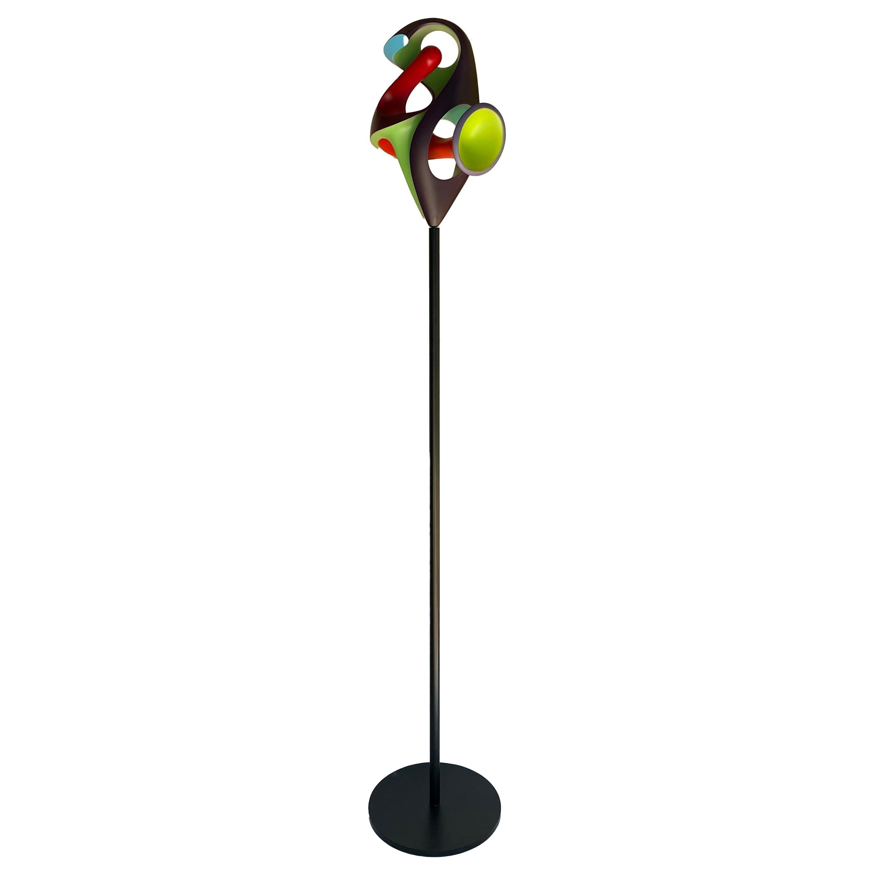 Chrysalis, Abstract Sculpture, Brightly Colored Intertwined Geometric Form