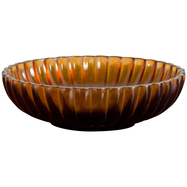 Chrysanthemum Bowl, Amber Peking Glass by Robert Kuo, Hand Carved For Sale