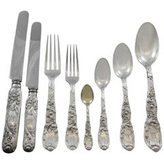 Chrysanthemum by Tiffany Sterling Silver Flatware Set 8 Service 66 Pcs Dinner