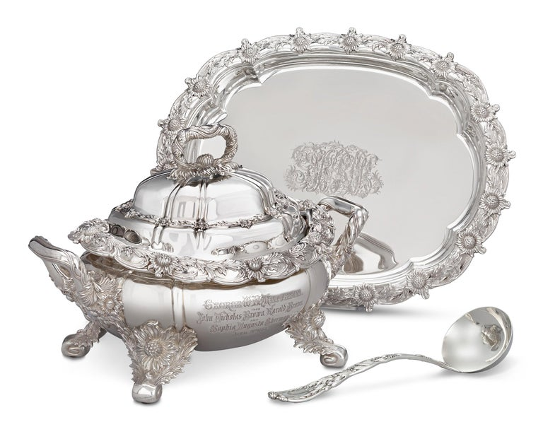 This outstanding silver covered soup tureen with matching underplate and ladle by Tiffany & Co. is crafted in the iconic Chrysanthemum pattern. Regarded as one of the most prestigious and stunning silver motifs ever created, Chrysanthemum features