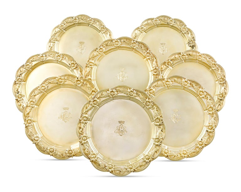 American Chrysanthemum Silver-Gilt Dinner Plates by Tiffany & Co. For Sale