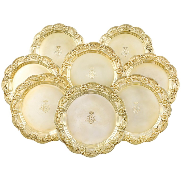 Chrysanthemum Silver-Gilt Dinner Plates by Tiffany & Co. For Sale