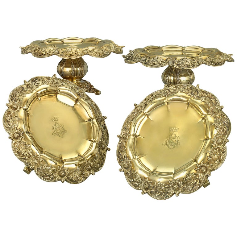 Chrysanthemum Silver Gilt Tazze by Tiffany & Co. For Sale