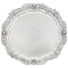 Chrysanthemum Sterling Silver Round Tray by Tiffany & Co.