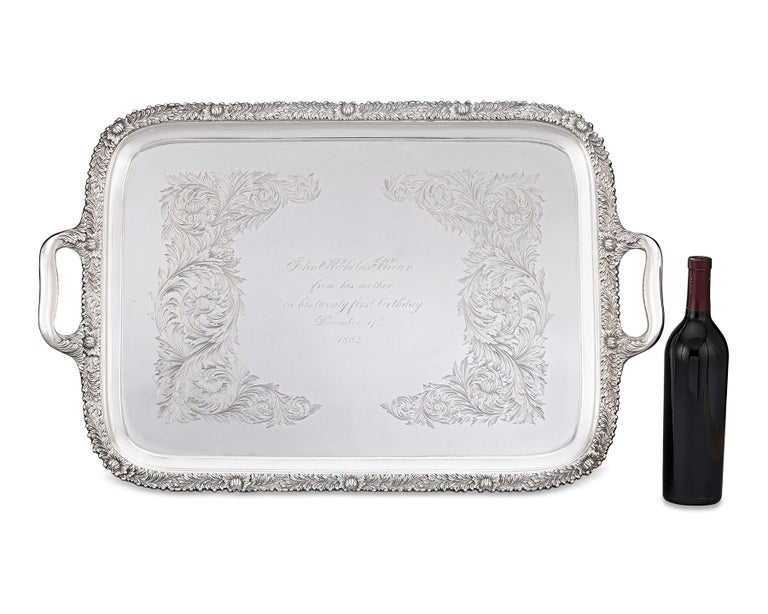 Chrysanthemum Sterling Silver Tea Tray by Tiffany & Co. In Excellent Condition For Sale In New Orleans, LA