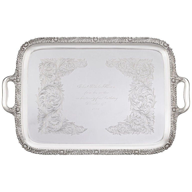 Chrysanthemum Sterling Silver Tea Tray by Tiffany & Co. For Sale