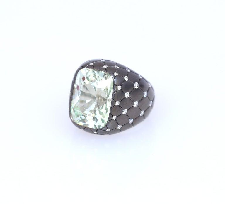 Chrysoberyl Alexandrite Diamond Gold Ring, 1990 For Sale 1