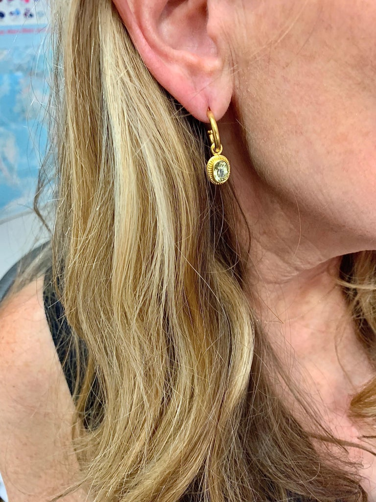 Oval Cut Chrysoberyl and 22 Karat Gold Hoop and Drop Earrings For Sale