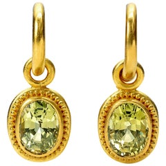 Chrysoberyl and 22 Karat Gold Hoop and Drop Earrings