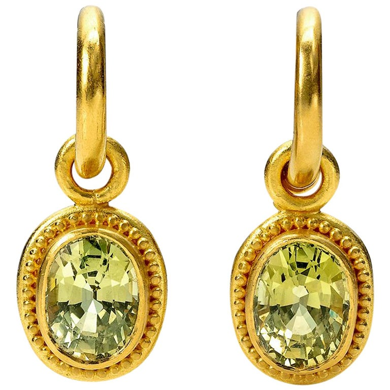 Chrysoberyl and 22 Karat Gold Hoop and Drop Earrings For Sale