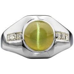 Chrysoberyl Cat's Eye and Diamond Ring in Platinum Midcentury