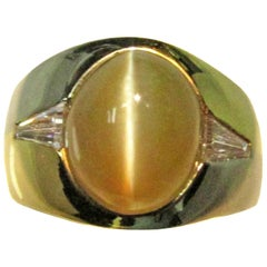 Chrysoberyl Cat's Eye Diamond White and Yellow Gold Ring