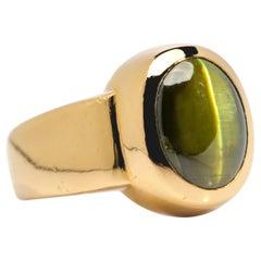 Chrysoberyl Cat's Eye Ring Acid Green 11.5 Carat