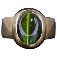 Chrysoberyl Cat's Eye Ring Neon Green and 22 Karat Gold