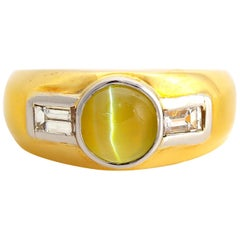 Chrysoberyl Cat's-Eye Ring with Diamonds from Midcentury